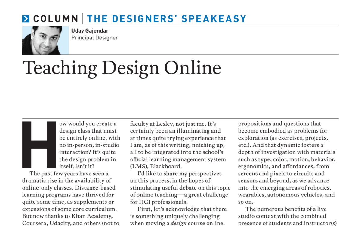 Teaching Design Online – Artikel