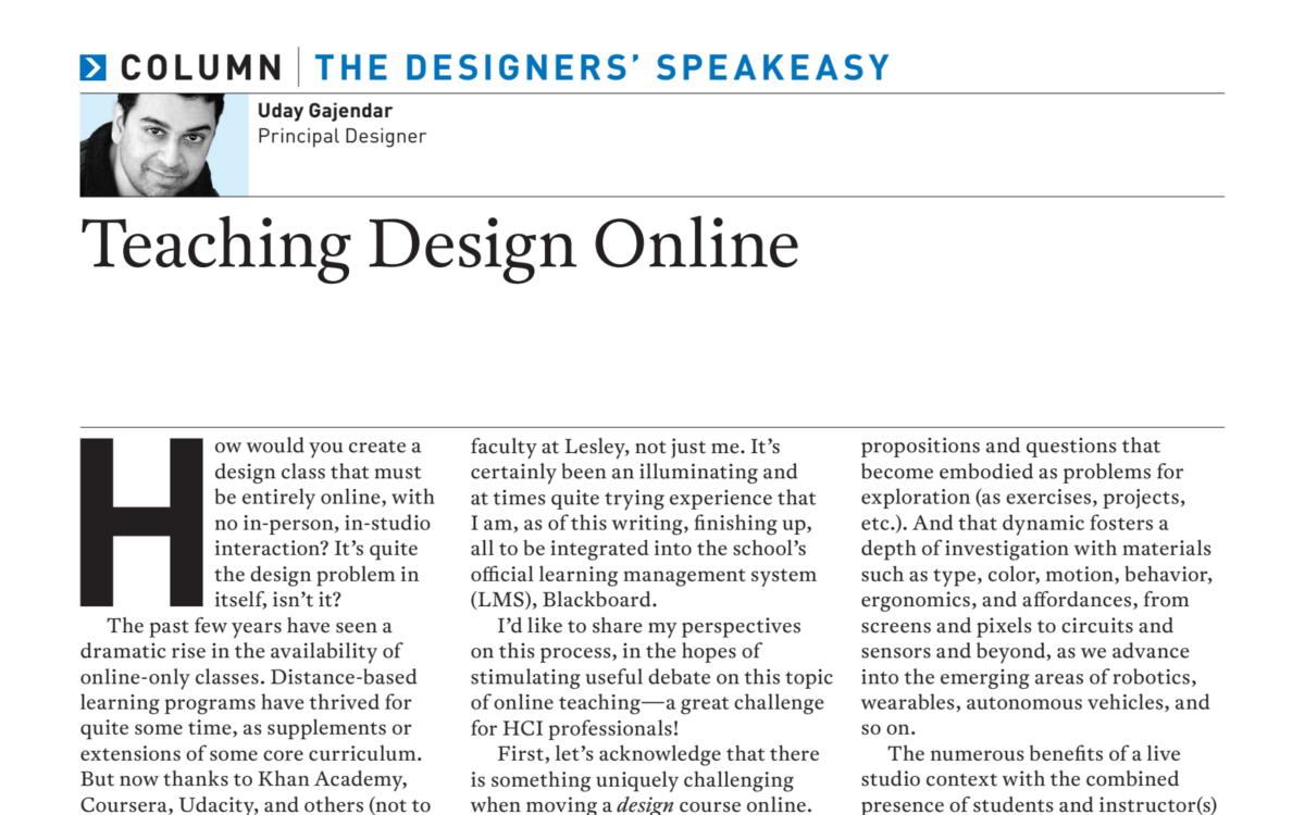 Teaching Design Online –Artikel