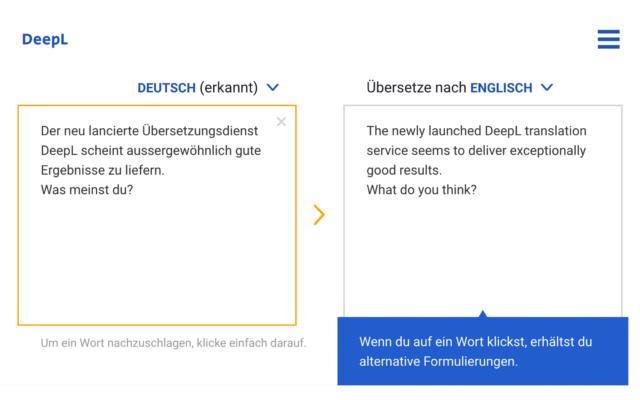 DeepL –Übersetzungen