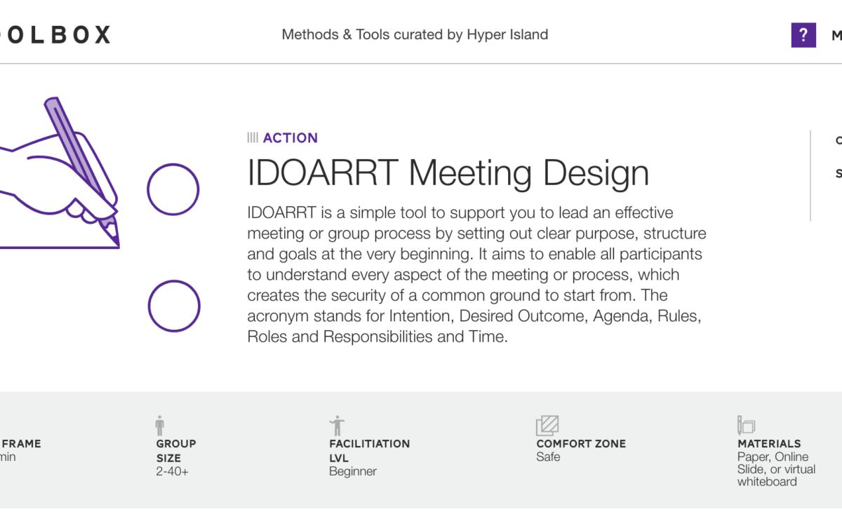 IDOARRT Meeting Design
